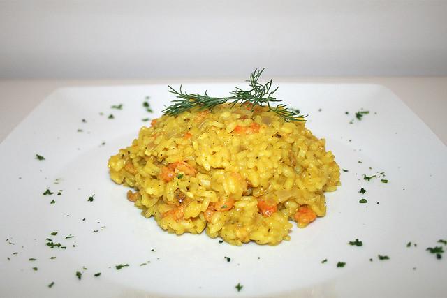 Safran-Risotto mit Shrimps & Krabben – das Rezept