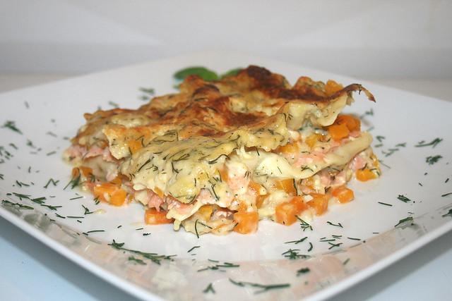Kürbis-Lachs-Lasagne – das Rezept