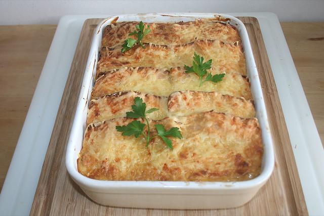 Bayrischer Leberkäse-Sauerkraut-Auflauf – das Rezept