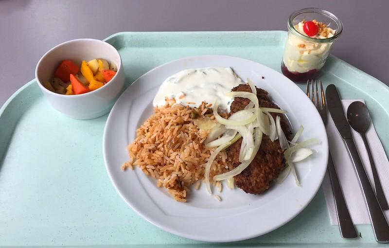Griechisches Bifteki mit frischen Zwiebeln, Tzatziki & Dujvec-Reis [12.04.2016]