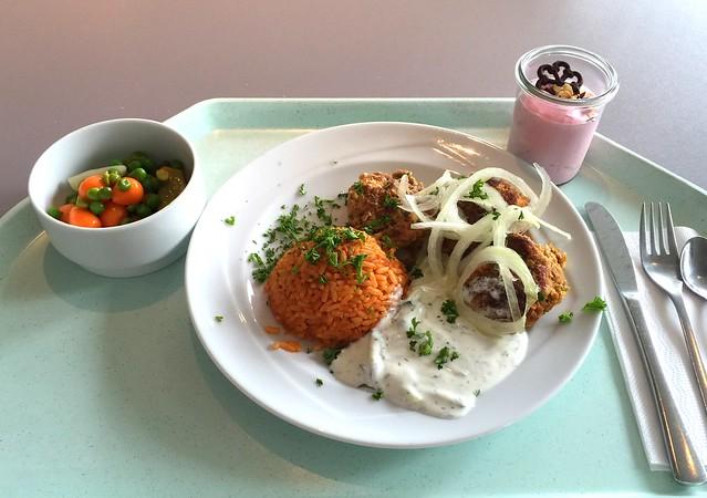 Griechische Bifteki mit Tzatziki, frischen Zwiebeln & Tomatenreis [21.06.2016]