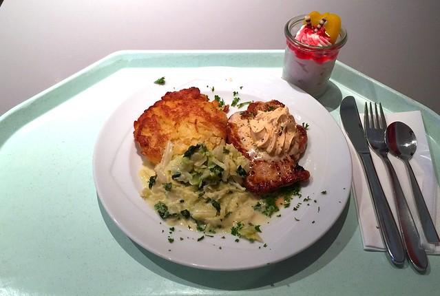 Schweinerückensteak mit Café de Paris Butter, Kartoffelplätzchen & Rahmwirsing [13.07.2016]