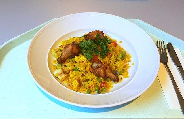 Spanische Paella mit Fisch, Meeresfrüchte & Huhn [05.10.2016]