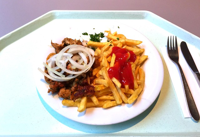 Griechisches Schweinegyros mit Tzatziki, frischen Zwiebeln & Pommes Frites [10.11.2016]