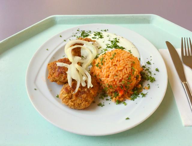 Bifteki mit Tzatziki, frischen Zwiebeln & Tomatenreis [24.04.2017]