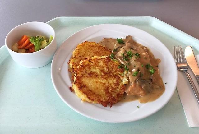"""Gebratene Hähnchenbrust """"Zurcher Art"""" mit hausgemachten Kartoffelrösti [25.04.2017]"""