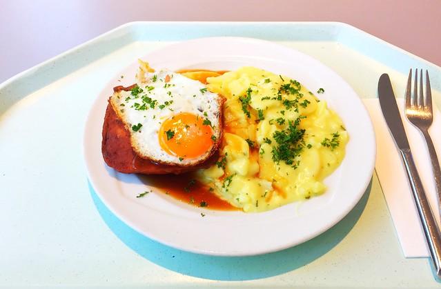 Abgebräunter Leberkäse mit Spiegelei, Bratensauce & Kartoffelsalat [14.08.2017]