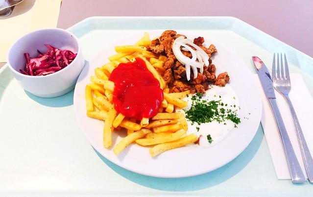 Griechisches Gyros vom Schwein mit Tzaziki, frischen Zwiebeln & Pommes Frites [21.08.2016]