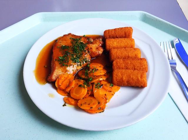 Putenschnitzel mit Honig-Karotten, dazu Pfeffersauce & Kroketten [25.08.2017]