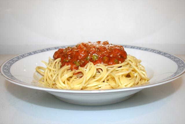 Spaghetti mit Hackfleisch-Erbsen-Tomatensauce [26.08.2017]