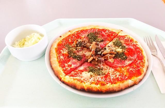 Ofenfrische Pizza mit Salami und Champignons [22.09.2017]