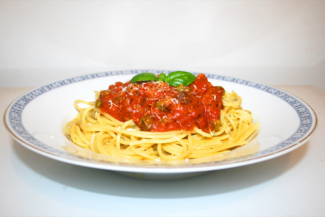 Spaghetti mit Hackfleisch-Salsa-Tomatensauce – das Kurzrezept