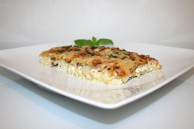 Sauerkrautkuchen mit Kloßteigboden – das Rezept