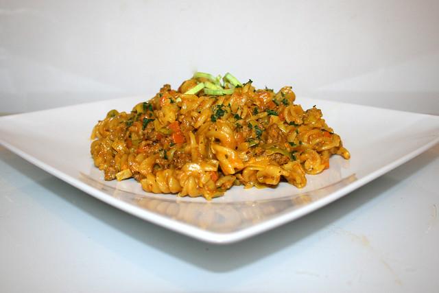 Curry-Rahmnudeln mit Hackfleisch – das Rezept