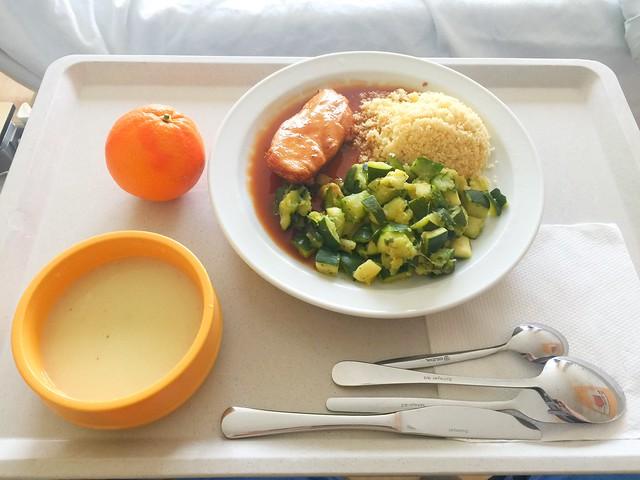 Kohlrabicremesuppe + Poulardenbrust mit Zucchinigemüse & CousCous – Klinikum Bogenhausen – Day 8 [30.01.2018]