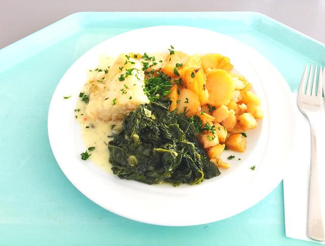 Gebratenes Kabeljaufilet mit Spinat in Weißweinsauce & Bratkartoffeln [02.03.2018]