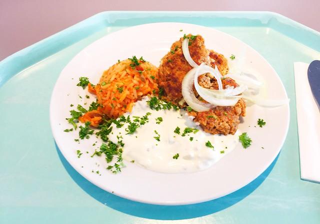 Griechische Bifteki mit Tzaziki, frischen Zwiebeln & Djuvecreis [13.03.2018]