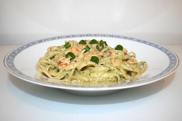 Garnelen-Pasta mit grüner Sauce – das Rezept