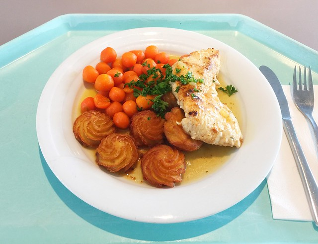 Putenschnitzel in Honig-Pfeffersauce dazu Pariser Karotten und Herzoginkartoffeln [08.06.2018]