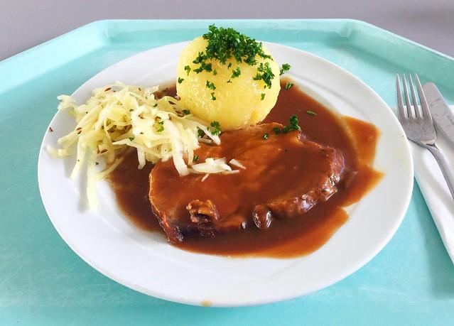 Ofenfrischer Schweinebraten in Dunkelbiersauce mit Kartoffelknödel & Krautsalat [05.07.2018]