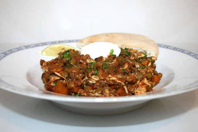 Äthiopischer Hähnchen-Linsen-Eintopf im Slow Cooker – das Rezept
