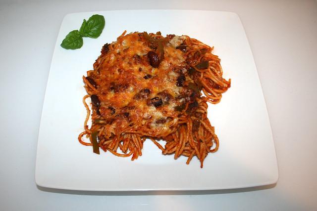 Gebackene Spaghetti mit Paprika & Kidneybohnen – das Rezept