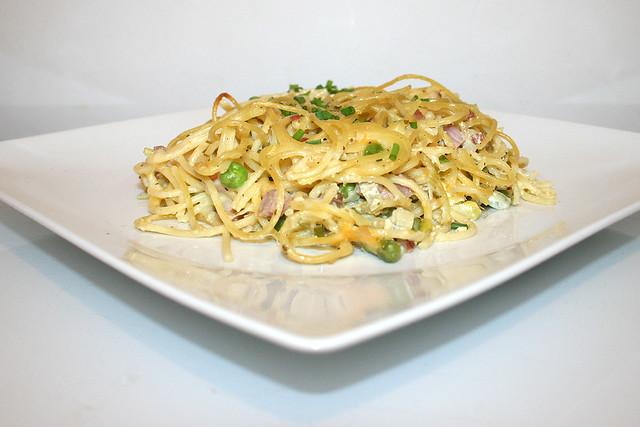 Spaghetti-Schinken-Auflauf mit Joghurt-Guss – das Rezept