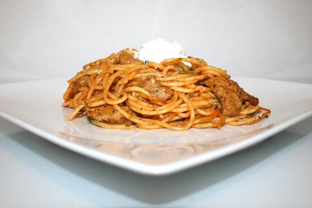 Gyros-Spaghetti-Auflauf mit Erbsen – ein ReCook