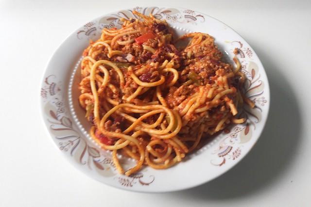 Spaghetti mit Hackfleisch-Tomatensauce, Paprika & Kidneybohnen [29.04.2019]