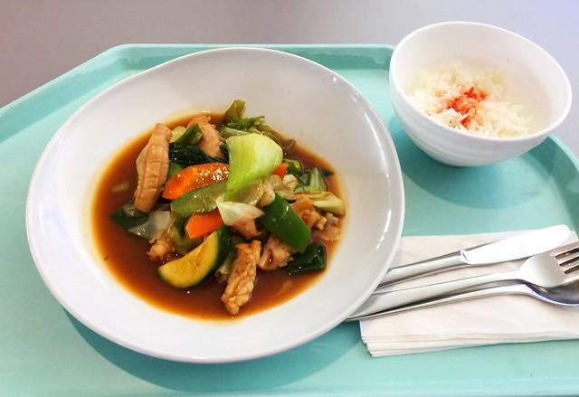 Gebratener Tintenfisch mit Gemüse in grünem Thaicurry [25.07.2019]