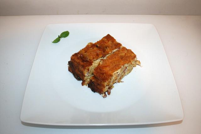 Käsespätzle-Kuchen mit Kartoffelchips-Kruste – das Rezept