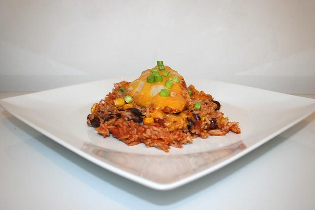 Mexikanischer Hähnchen-Reis-Auflauf – das Rezept