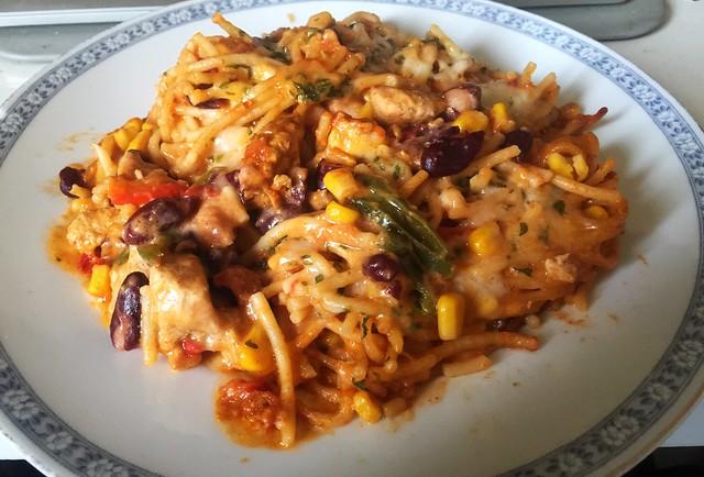 Spaghettiauflauf mit mexikanisch marinierten Hähnchen – Resteverbrauch [23.12.2019]