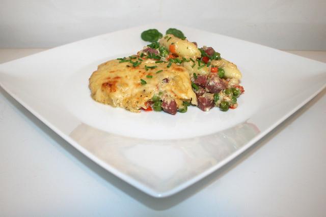 Schupfnudel-Salami-Gratin – das Rezept