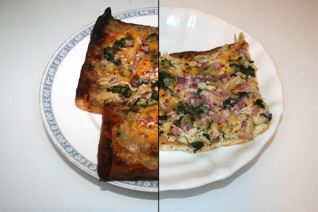 Pizza mit Hähnchen, geröstetem Knoblauch & Spinat – Resteverbrauch [01. – 02.04.2020]