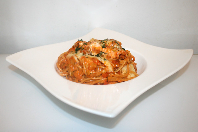 Überbackene Lachs-Lauch-Spaghetti – das Rezept