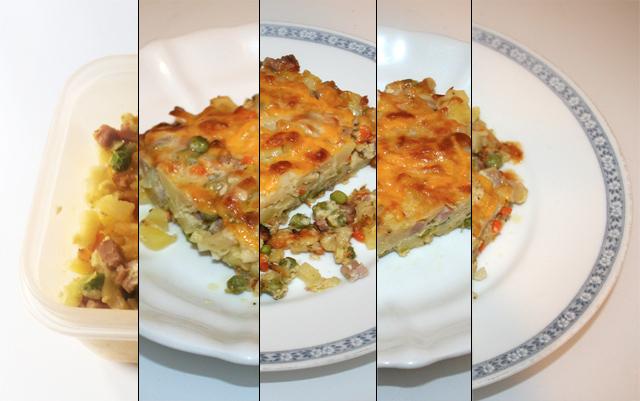 Kartoffel-Nudel-Auflauf mit Schinken & Gemüse – Resteverbrauch [10. – 14.09.2020]