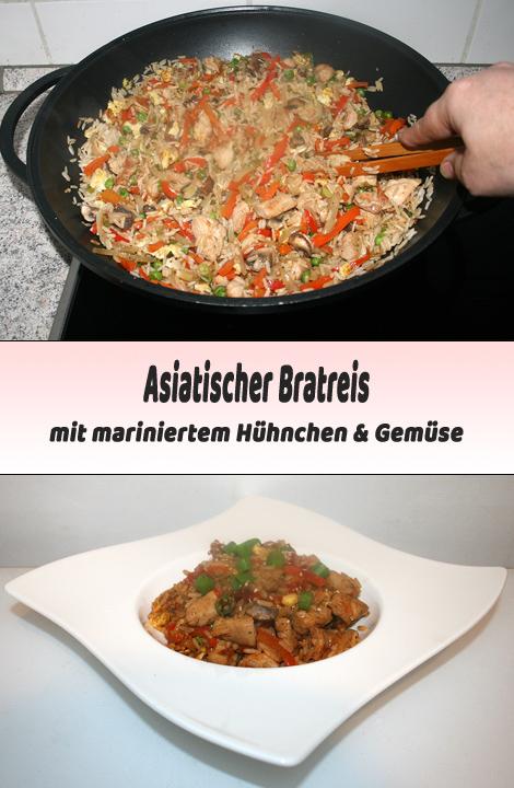Asiatischer Bratreis mit mariniertem Huhn & Gemüse