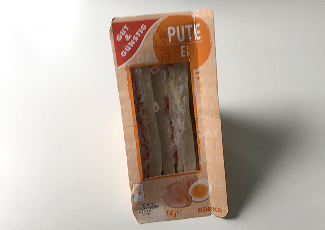 Pute-Ei-Sandwich gut und günstig Verpackung