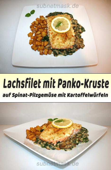 Lachfilet mit Panko-Kruste auf Spinat-Pilzgemüse an Kartoffelwürfeln