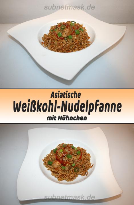 Asiatische Weißkohl-Nudelpfanne mit Huhn