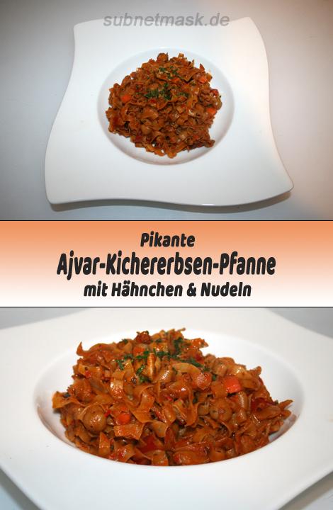 Pikante Kichererbsen-Ajvar-Pfanne mit Nudeln