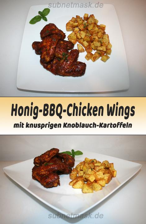 Honig-BBQ-Chicken Wings mit knusprigen Knoblauchkartoffeln