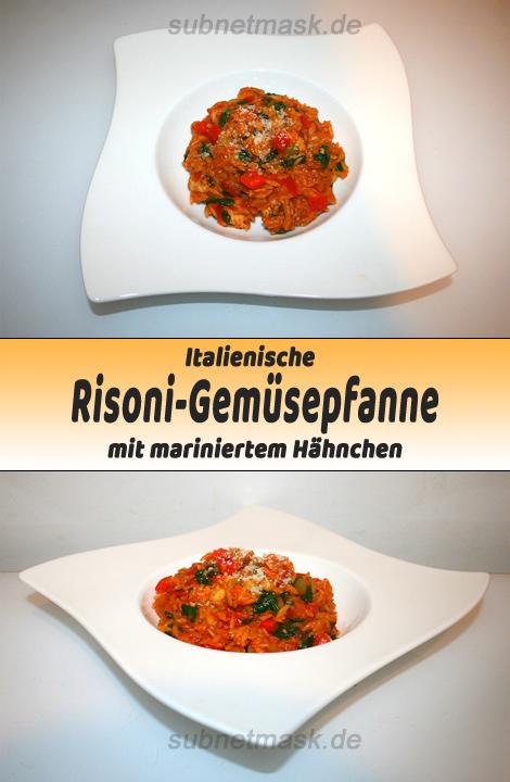 Italienische Risoni-Gemüsepfanne mit mariniertem Hähnchen