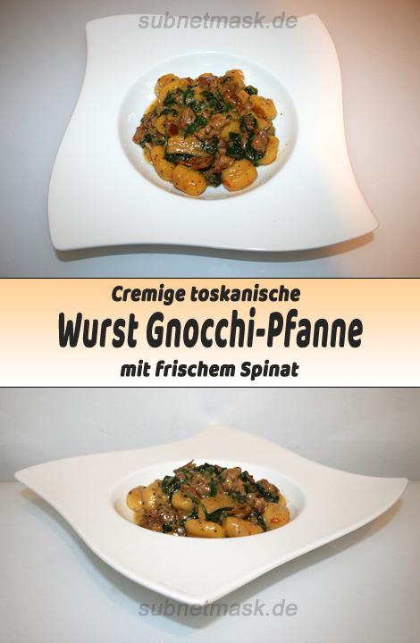 Cremige Toskanische Wurst Gnocchi Pfanne mit Spinat