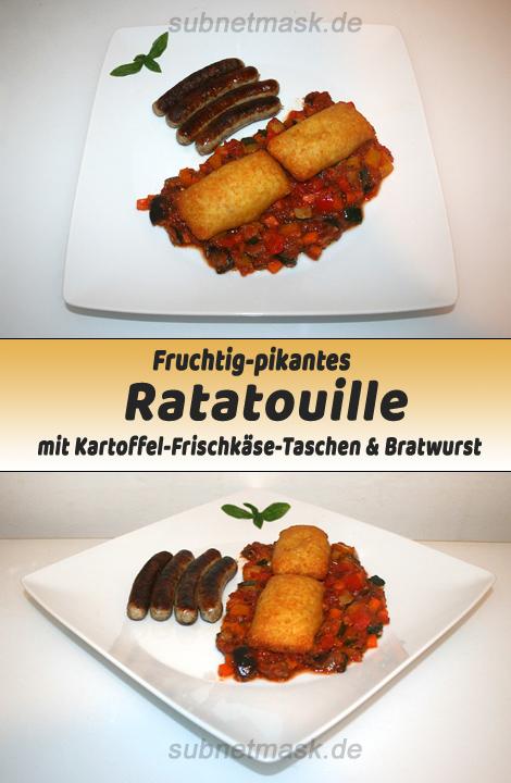 Fruchtig-pikantes Ratatouille mit Kartoffel-Frischkäse-Taschen & Bratwurst