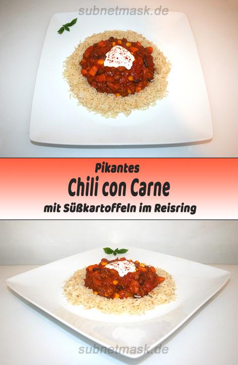 Chili con Carne mit Süßkartoffeln im Reisring