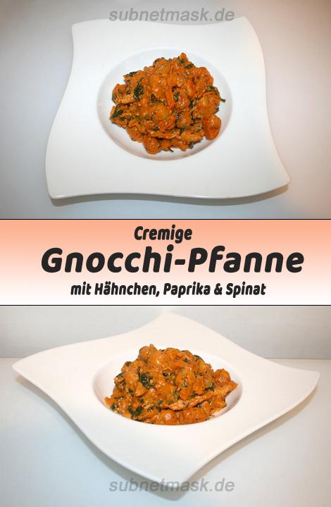 Cremige Gnocchi-Pfanne mit Hähnchen, Paprika & Spinat