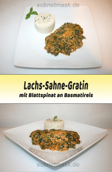 Lachs-Sahne-Gratin mit Blattspinat an Basmatireis