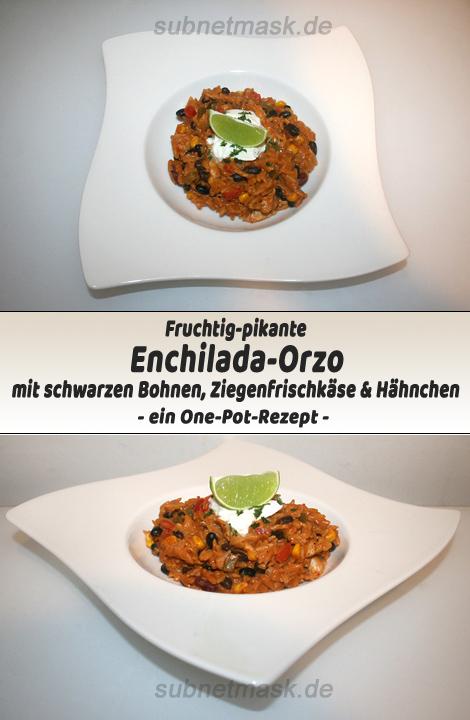 Fruchtig-pikante Enchilada-Orzo mit schwarzen Bohnen, Ziegenfrischkäse & Hähnchen